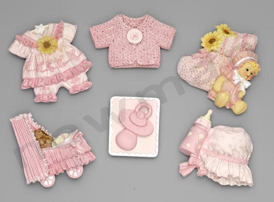 polyesterika magnitakia roz set 3 220885