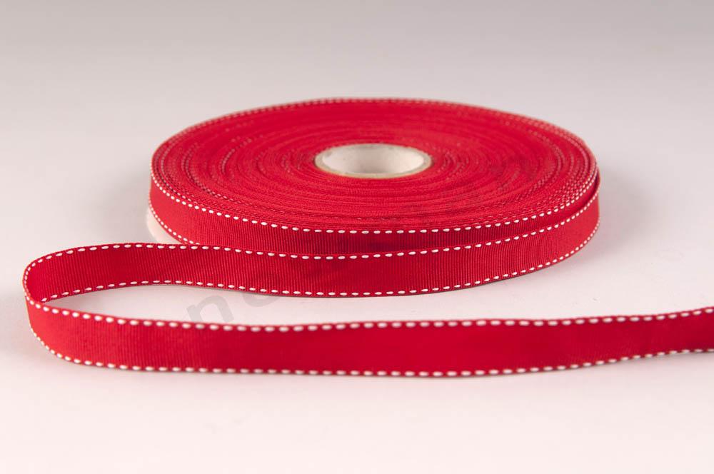 081 Κόκκινο με λευκό γαζί