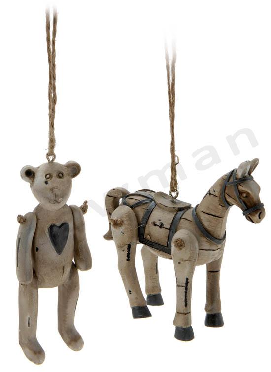 Σετ ξύλινα αλογάκι και αρκουδάκι
