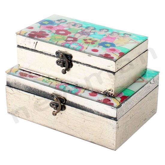 Κουτί ξύλινο με βίντατζ σχέδιο και γυαλί στο καπάκι