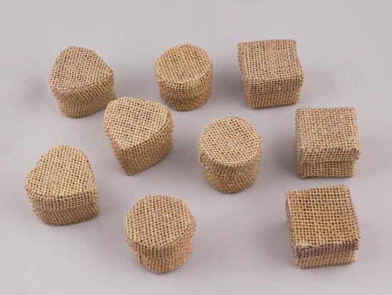 Λινάτσας κουτάκια για μπομπονιέρες