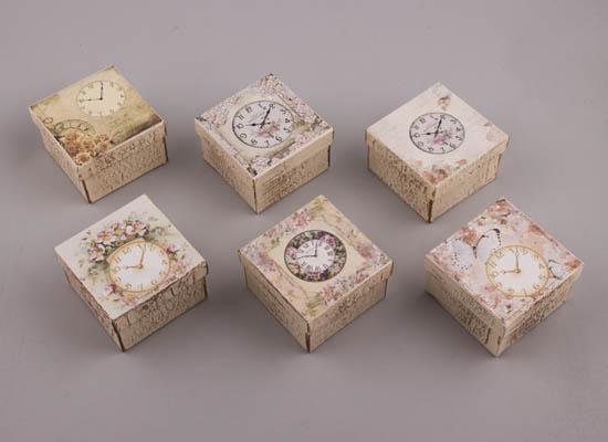 232057 ~ Χειροποίητα κουτιά τετράγωνα σε 6 σχέδια Ρολόγια