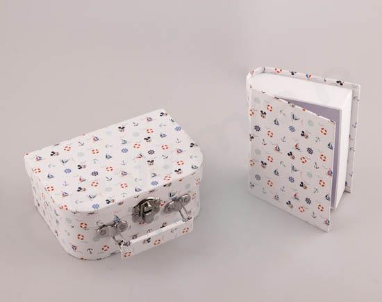 Ναυτικά σχέδια σε κουτί βαλίτσα & κουτί βιβλίο