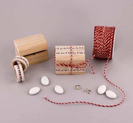 Υλικά για DIY μπομπονιέρες σε ξύλινο κουτί