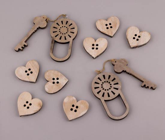 Καρδιές κουμπιά & λουκέτο με κλειδί