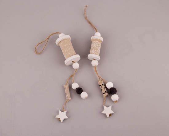 Λευκές κρεμαστές κουβαρίστρες με χάντρες