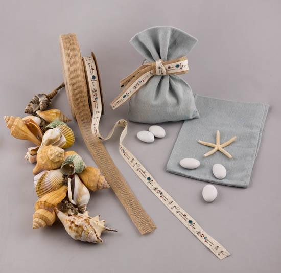 Υλικά για μπομπονιέρα ναυτική σε λινό πουγκί
