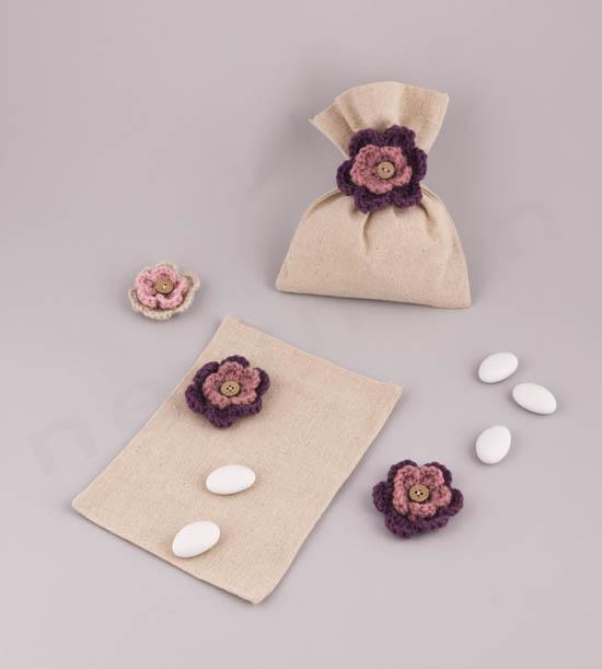 Πουγκί από καραβόπανο & πλεκτό λουλουδάκι μωβ