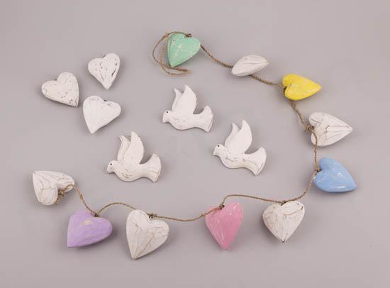 Ξύλινα διακοσμητικά πουλάκια & καρδιές