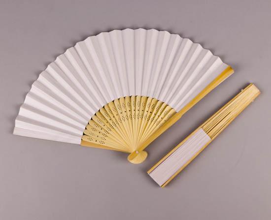 Βεντάλια με φυσικό ξύλο & λευκό χαρτί