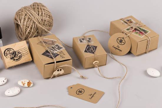 Κραφτ κουτιά DIY μπομπονιέρες