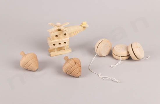 Ξύλινο ελικόπτερο, φυσική σβούρα & άβαφο Yo-Yo
