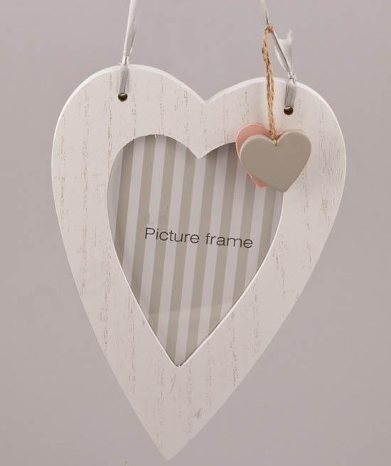Καρδιά κορνίζα κρεμαστή λευκή