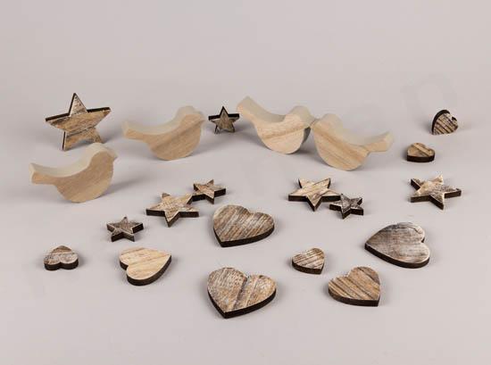 Πουλάκια, καρδιές & αστέρια σε φυσικό ξύλο
