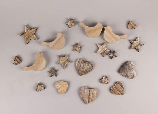 Ξύλινα διακοσμητικά πουλάκια, καρδιές και αστέρια