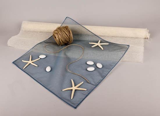 Σπάγγος, μεταξωτό μαντήλι, τουλπάνι εκρού, φυσικός αστερίας  & κουφέτα
