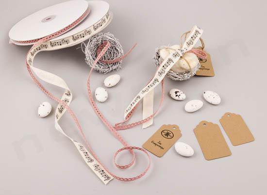Υλικά μπομπονιέρας σε μικρή φωλιά με κουφέτα together και κορδέλα μουσικής