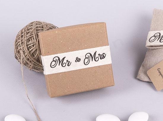 Κουτί οικολογικό με κορδέλα Mr&Mrs