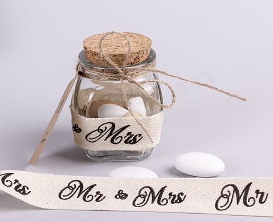 Βαζάκι γυάλινο με κορδέλα Mr&Mrs