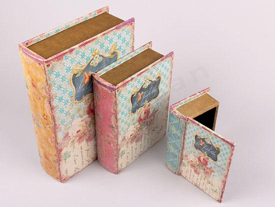 Βιβλία κουτιά με επένδυση καμβά με σχέδια τριαντάφυλλα