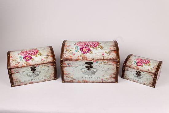 Ξύλινα μπαουλάκια με λουλουδένια vintage σχέδια