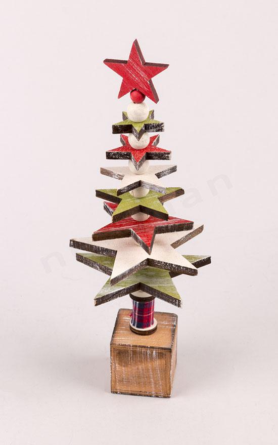 310951 Δεντράκι χριστουγεννιάτικο ξύλινο αστέρια πράσινο-κόκκινο