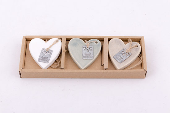 353021 Σετ 3 κεραμικές καρδιές κρεμαστές