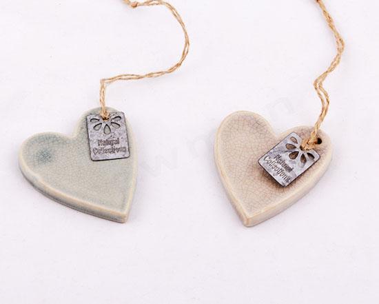 Σετ 3 κεραμικές καρδιές κρεμαστές