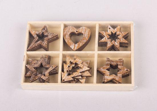310939 Σετ 24 ξύλινα στολίδια κρεμαστά
