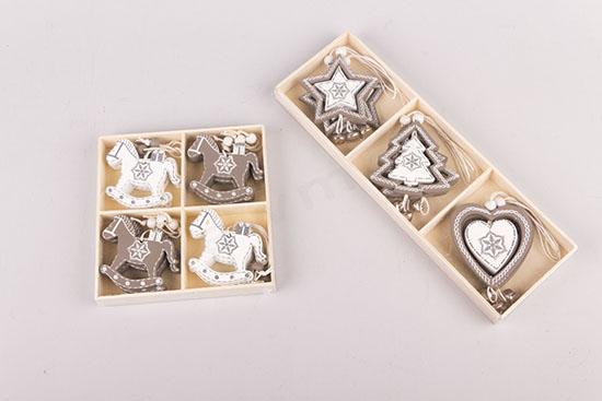 Στολίδια γκρι/λευκά αλογάκια, αστέρια, καρδιές & δεντράκια