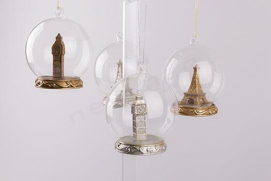 Γυάλινες μπάλες big Ben & Eiffel tower