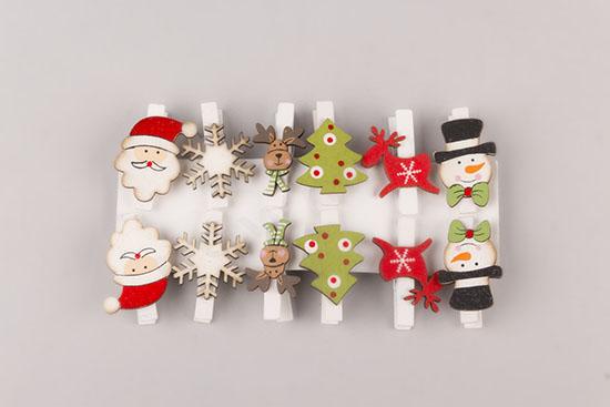 Χριστουγεννιάτικα μίνι μανταλάκια (σετ 12)