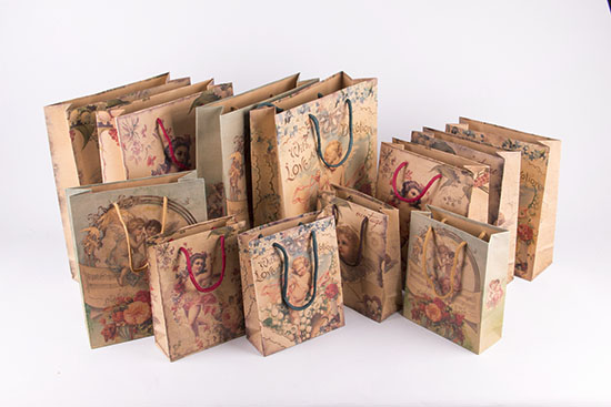 Vintage χάρτινες τσάντες με Αγγελάκια