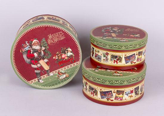 Χριστουγεννιάτικα χάρτινα κουτιά στρογγυλά