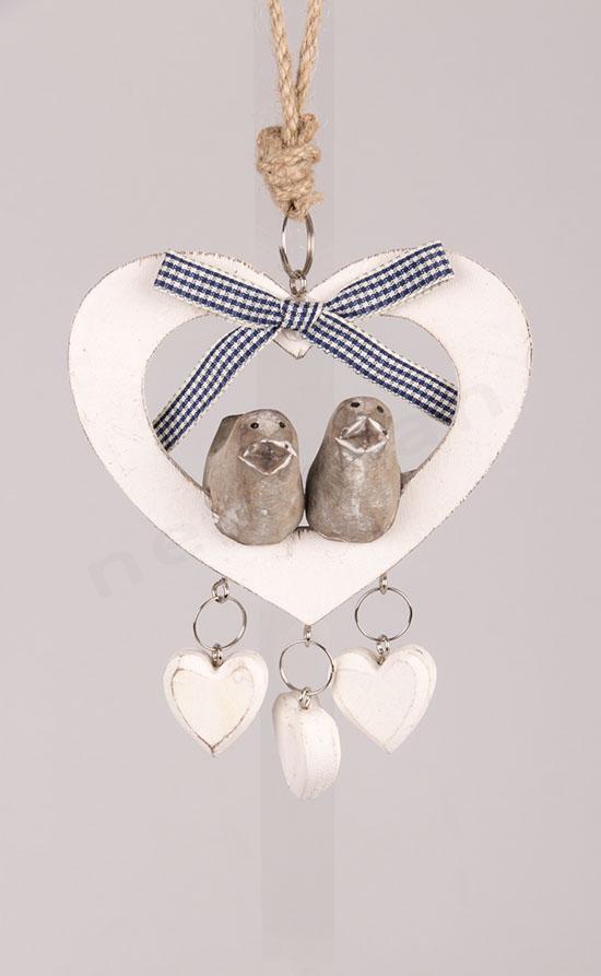 κωδ.233645 Καρδιά με πουλάκια στολίδι