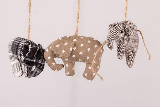 Ελεφαντάκια πάνινα κρεμαστά