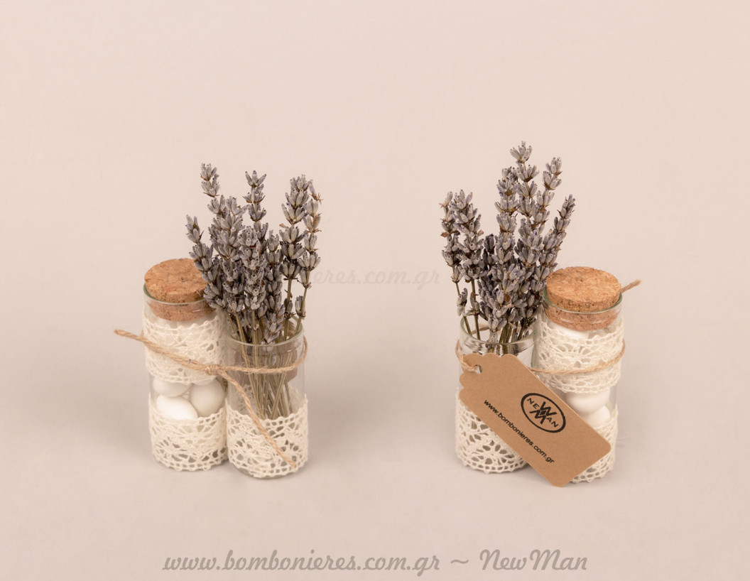 Γυάλινοι σωλήνες με λεβάντα-ιδέες μπομπονιέρας