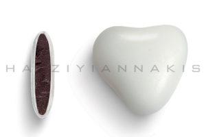 Καρδιά λευκό γυαλισμένο