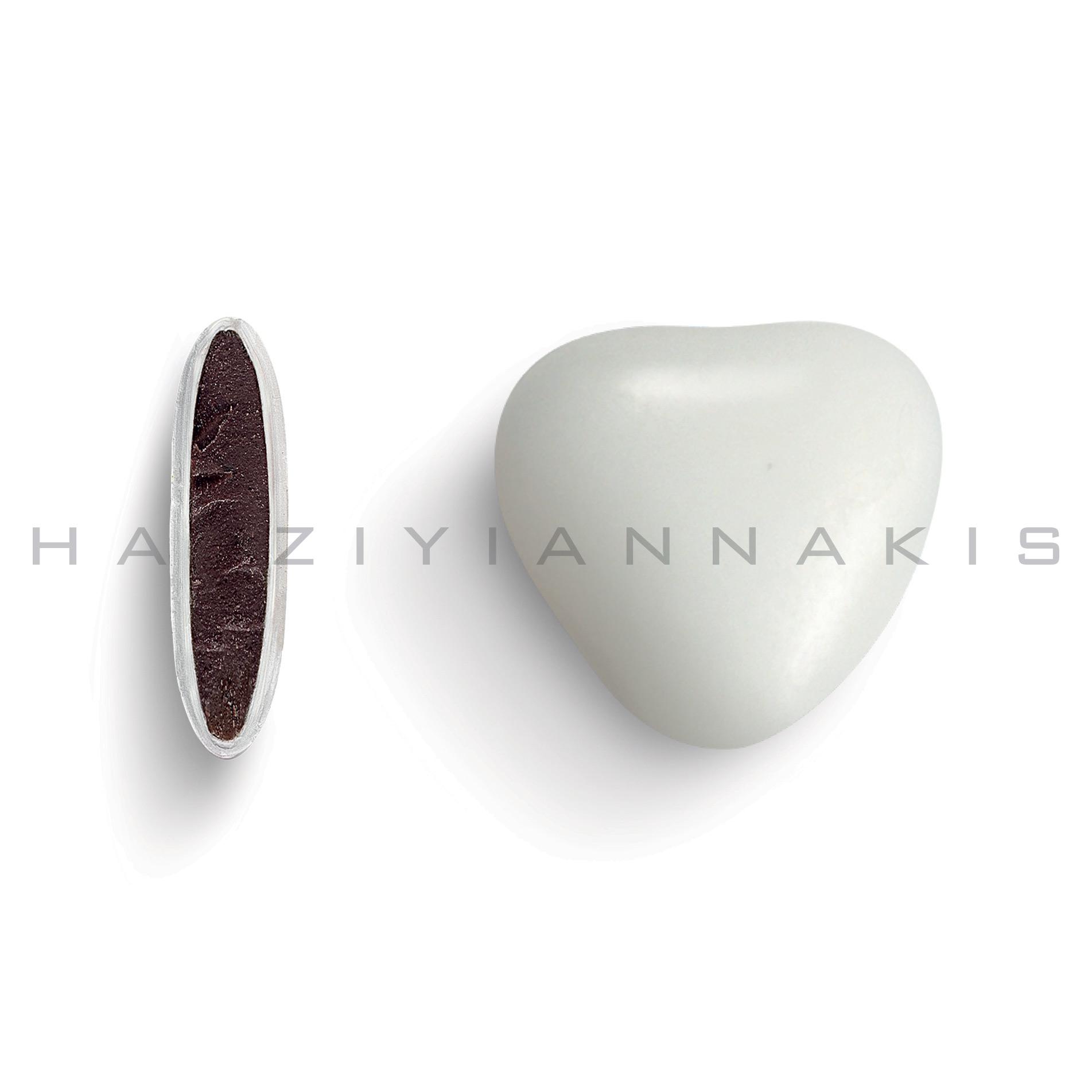 Καρδιά μεσαία λευκό γυαλισμένο
