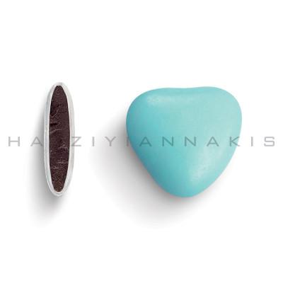 Καρδιά μεσαία χρώμα σιελ γυαλισμένο