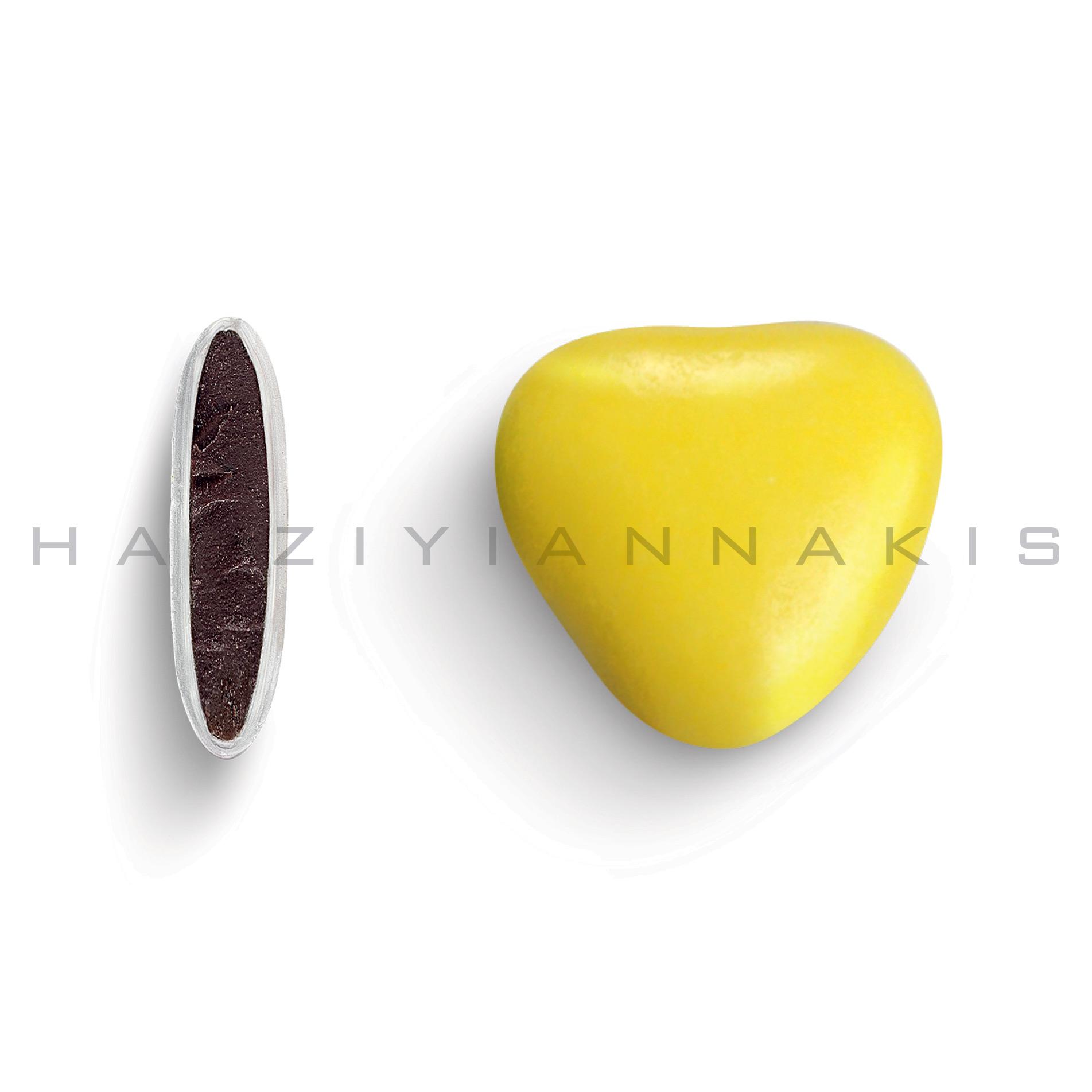 Καρδιά μεσαία χρώμα κίτρινο γυαλισμένο