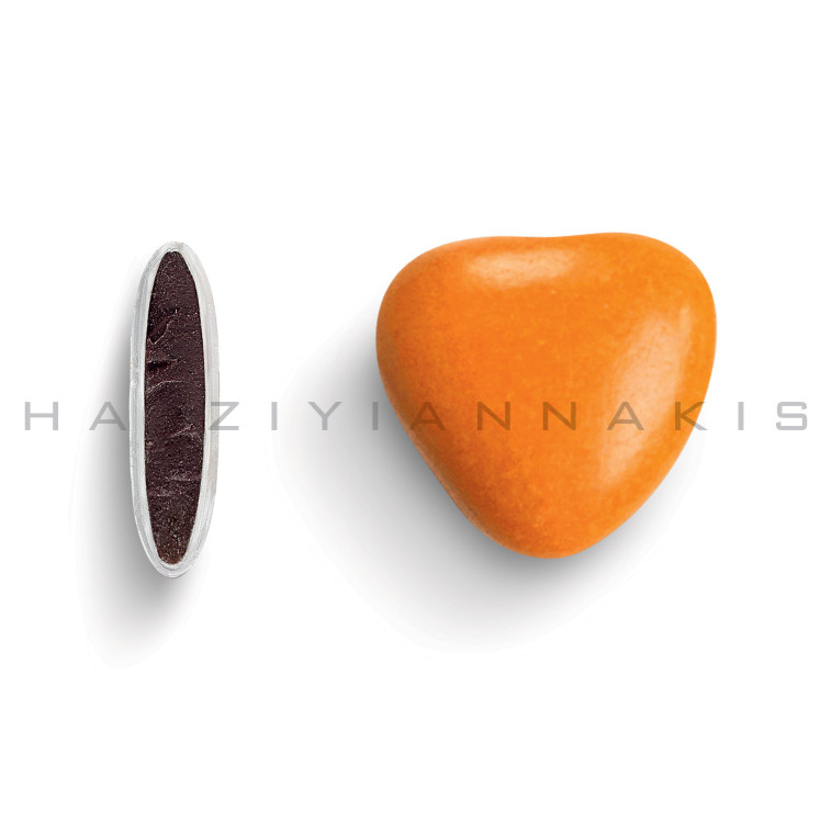 Καρδιά μεσαία χρώμα πορτοκαλί γυαλισμένο