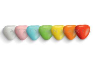 Kαρδιά μεσαία πολύχρωμη γυαλισμένη