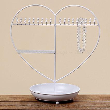 390724 Κοσμηματοθήκη μεταλλικά λευκή καρδιά 30cm