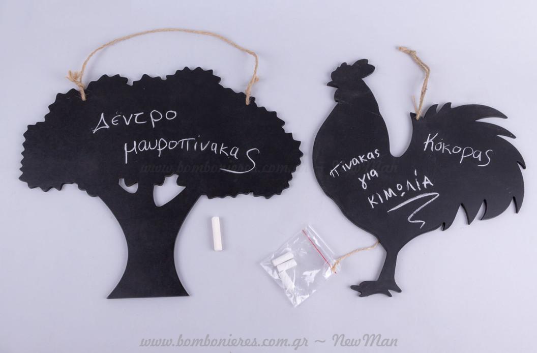 Δέντρο και κόκορας μαυροπίνακες για κιμωλία