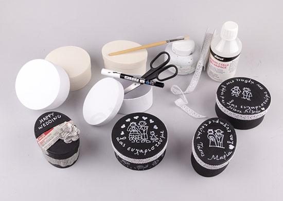 Υλικά για να φτιάξεις μπομπονιέρες με μαύρη μπογιά