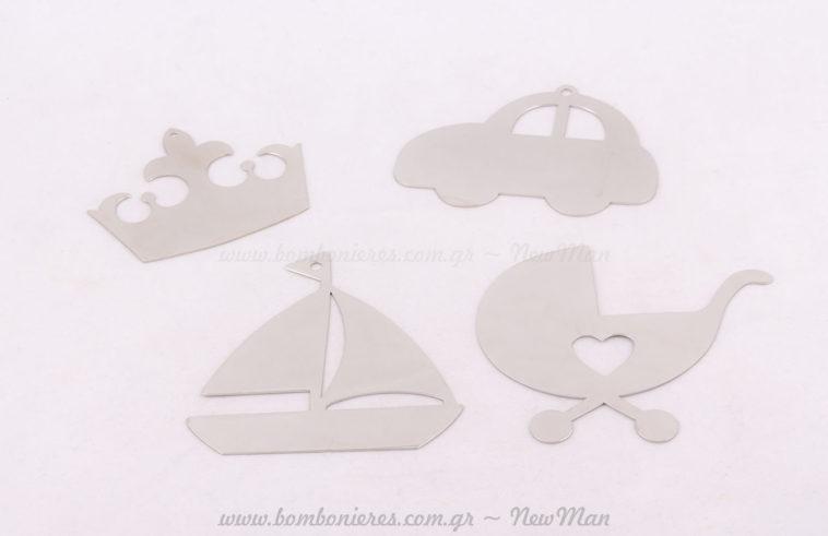 Μεταλλικά διακοσμητικά ασημί κορώνα, αυτοκίνητο, καρότσι & καράβι!