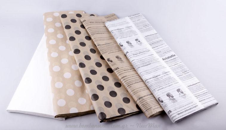 Τυπωμένο χαρτί αφής λευκό & κραφτ με βούλες ή γράμματα