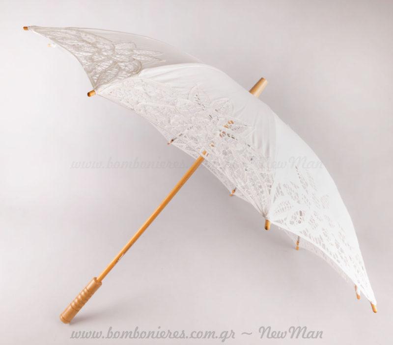 Ομπρέλα γάμου δαντέλα λευκή
