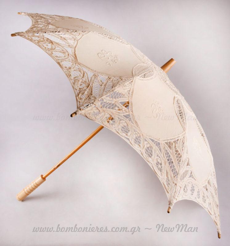 Ομπρέλα γάμου δαντέλα ιβουάρ